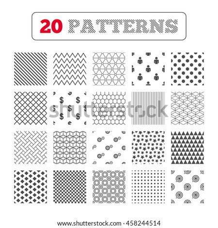 Ornament patterns, diagonal stripes and stars. Business icons. Human silhouette and aim targer with arrow signs. Dollar currency and gear symbols. Geometric textures. Vector - stock vector