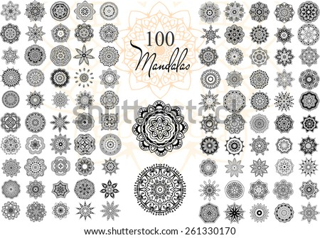 Ornament round set with mandala. Geometric circle element made in vector. Perfect set for any other kind of design, birthday and other holiday, kaleidoscope,  medallion, yoga, india, arabic - stock vector