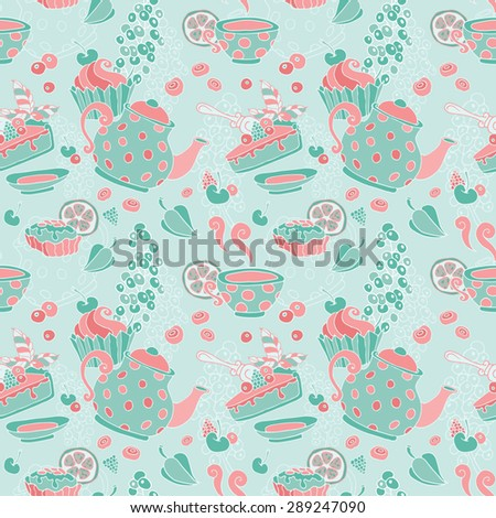 Ornament seamless pattern with tea party objects - teapot, cup, cakes, berries, decorative elements