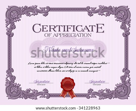 Ornament vintage frame certificate appreciation violet stock ornament vintage frame certificate of appreciation violet yadclub Images