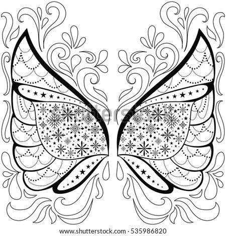 ornament Wings with snowflakes and lights,doodle feather.outline Black white hand drawn doodle.vector illustration. isolated on white background.Sketch art therapy, coloring page,poster,print t-shirt