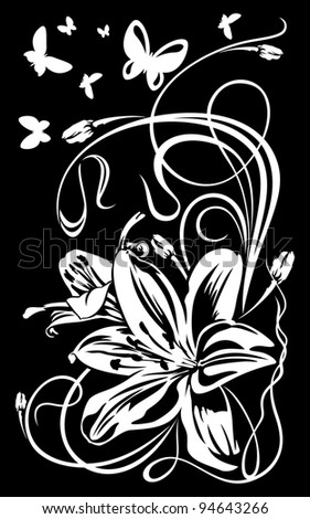 Ornament with a flower and butterflies - stock vector