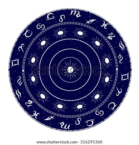 Ornament with elements of the zodiac. Image can be applied to any use, including kitchen utensils, decorative plates, dishes or painting walls.