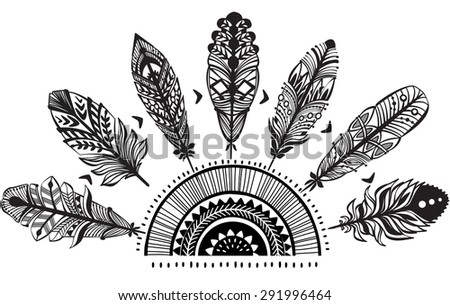 Ornament with feathers - stock vector