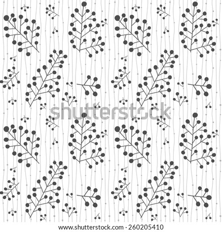 Ornament with plants. Seamless vector. Black and white - stock vector