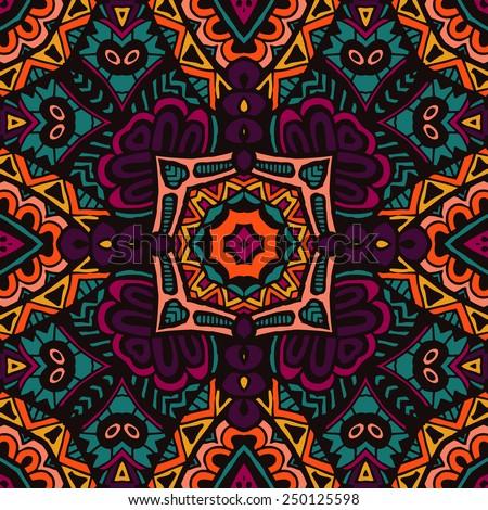 Ornamental Abstract Vector Colorful ethnic Geometric Sea - stock vector