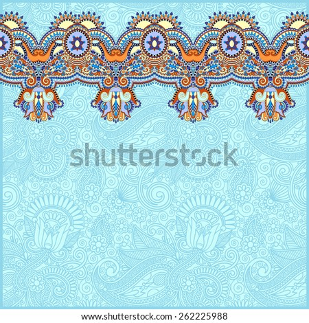 ornamental background with flower ribbon, stripe pattern, greeting card, vector illustration in blue color - stock vector