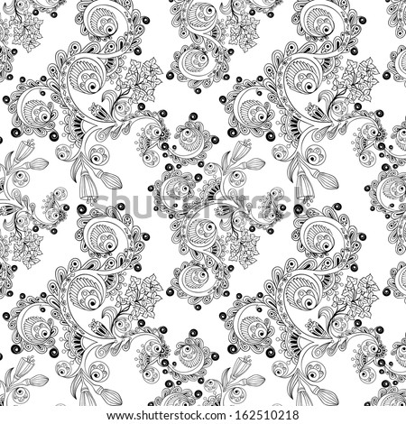 Ornamental black and white seamless floral pattern with flowers, doodles and cucumbers - stock vector