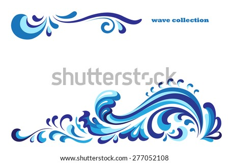 Ornamental blue wave, vector decoration on white - stock vector