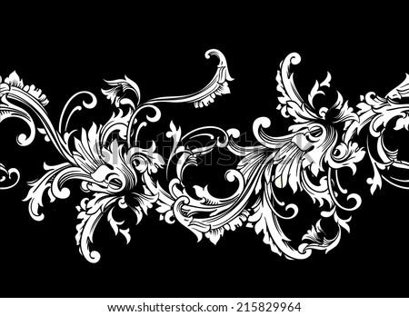 Ornamental border, frame. Baroque pattern. Vector seamless. - stock vector