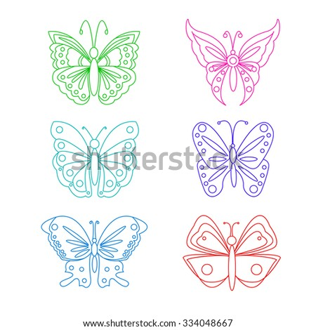 Ornamental butterfly set. Vector Illustration. Filigree line art style. Outline silhouettes.
