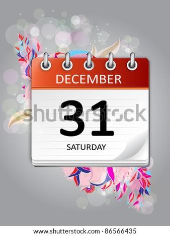 ornamental calendar  december 31 - stock vector