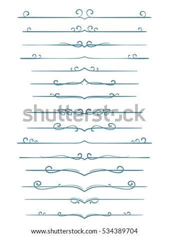 Asymmetrical Calligraphic Line Page Decoration Vector