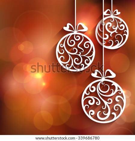 Ornamental Christmas balls with paper swirls, vector background, eps10 - stock vector