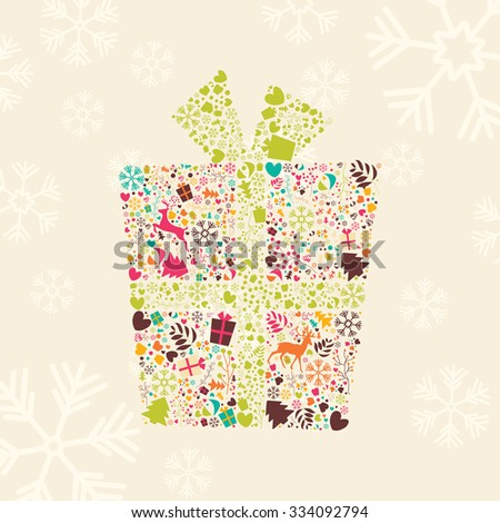 Ornamental Christmas gift box with reindeer, snowflakes and flowers, vector illustration - stock vector