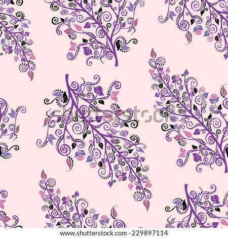 Ornamental colored seamless floral pattern with flowers and doodles. Used clipping mask for easy editing - stock vector