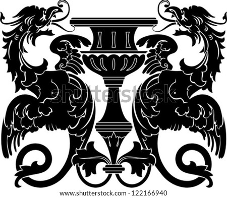 ornamental composition with vase and harpy, clip art optimized for  cutting on plotter. Stencil for decor. - stock vector