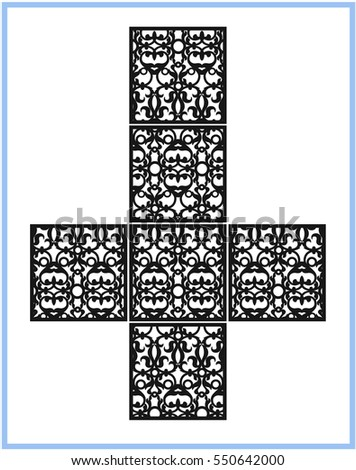 Ornamental cube, square.  The template pattern for decorative panel. For laser / paper cutting, printing, engraving wood, metal, stencil manufacturing. Vector