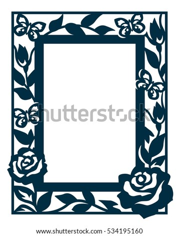 Ornamental Cutout Photo Frame Blossom Roses Stock Vector HD (Royalty ...