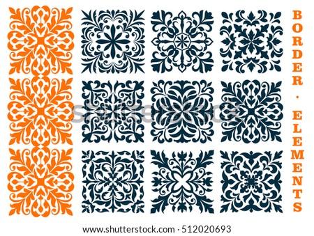 Ornamental Decoration Floral Patterns Curled Curved Stock Vector - Curved tile border