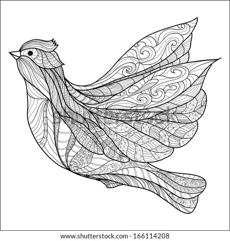 ornamental decorative abstract bird, isolated on white. hand drawing - stock vector