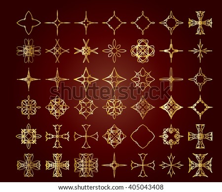 Ornamental decorative floral abstract vintage celtic knot inspired cross elements for design and page decoration, line art. - stock vector