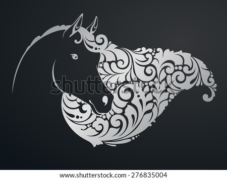 Ornamental decorative horse with a beautiful mane - stock vector