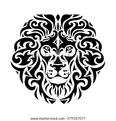 Ornamental decorative isolated black a lion's muzzle on a white background.  Can be used for t-shirt, poster, tattoo, textile,  element for card design. Hand drawn vector illustration