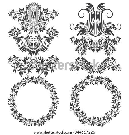 Ornamental Elements Patterned Round Frames Design Stock Vector ...