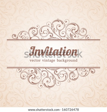 Ornamental floral background. Vintage pattern for invitation or greeting card - stock vector