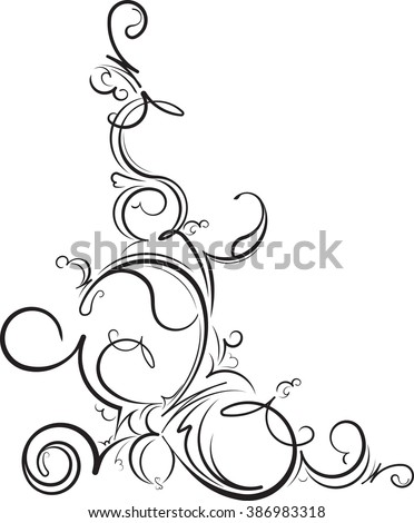 Ornamental floral corner. Vector illustration for your design or tattoo - stock vector
