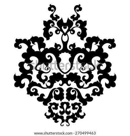 Ornamental Floral Damask Element Black Symmetric Scrolls On White Background