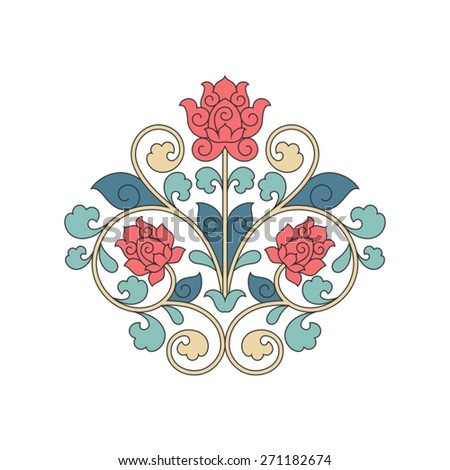 Ornamental floral element for design in China stile. - stock vector