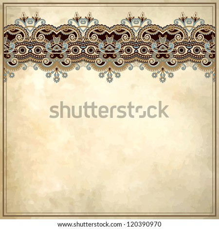 Ornamental floral pattern with place for your text, in grunge background - stock vector
