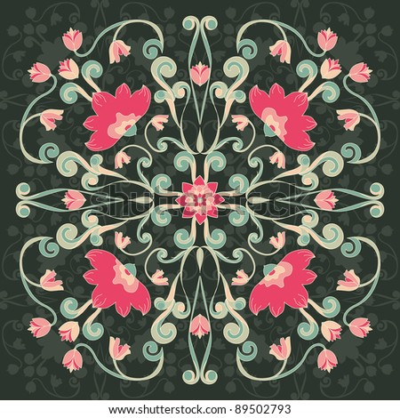 Ornamental Floral Round Lace - stock vector