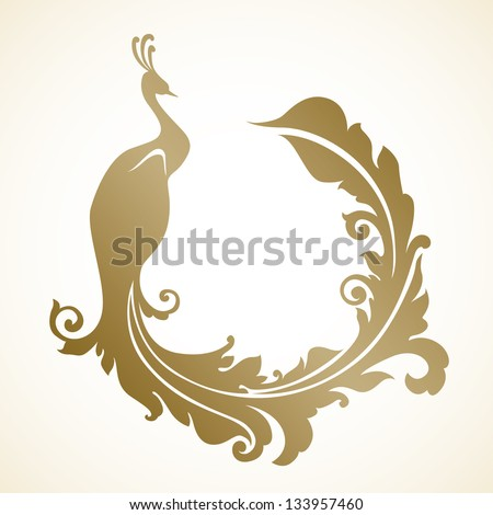 Ornamental frame with peacock - stock vector