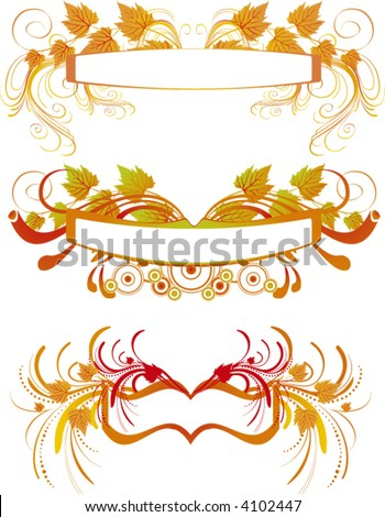 ornamental frames with autumn leaves - vector