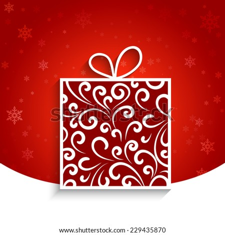 Ornamental gift box, vector winter background, eps10