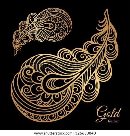 Ornamental gold feather, swirly decorative element on black, vector illustration - stock vector