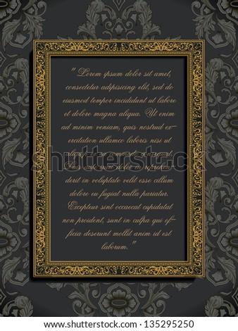 Ornamental Gold Frame On Damask Wallpaper Stock Vector 135295250 ...