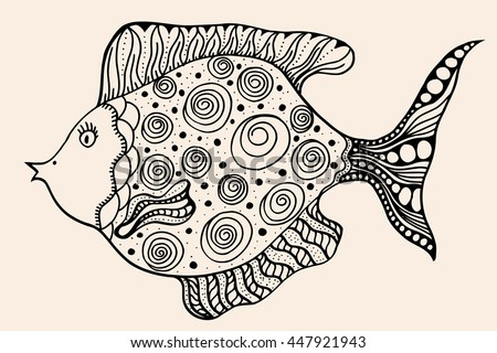 ornamental graphic fish. Vector vintage engraving. Zentangle. Hand drawn artwork. Bohemia concept for restaurant menu card, branding, logo label. Black and beige