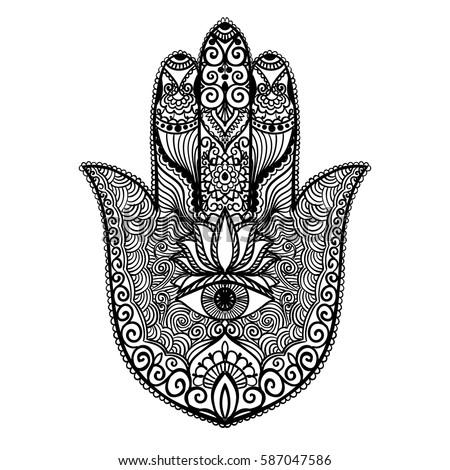 Ornamental Hand Eye Vector Hand Drawn Stock Vector 587047586