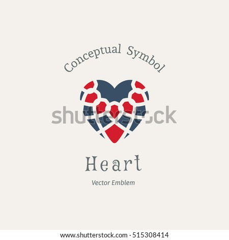 Ornamental heart logo template. Vector emblem for medical organization, hospital or charitable foundation.