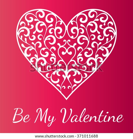 Ornamental heart on bright red background. Valentine's day greeting card. Vector illustration - stock vector