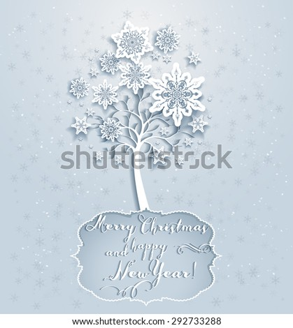 Ornamental holiday snowflakes tree. Elegant Christmas card  - stock vector