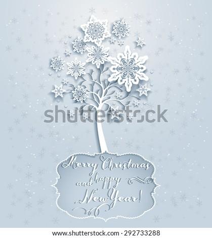Ornamental holiday snowflakes tree. Elegant Christmas card  - stock vector