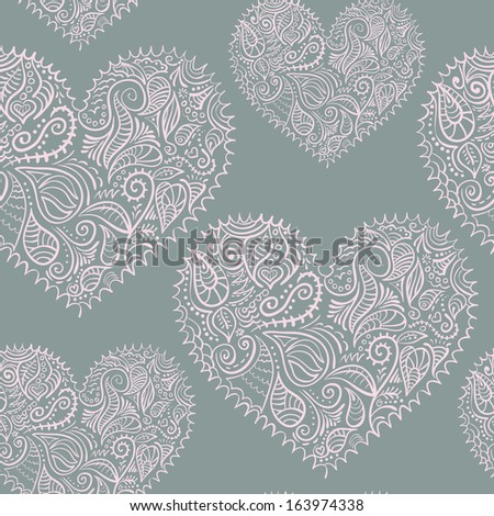 ornamental lace hearts seamless pattern added to swatches - stock vector