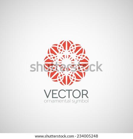 Ornamental logo template design. Vector circular symbol - stock vector