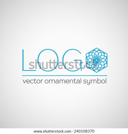 Ornamental logo template design. Vector hexagon symbol - stock vector