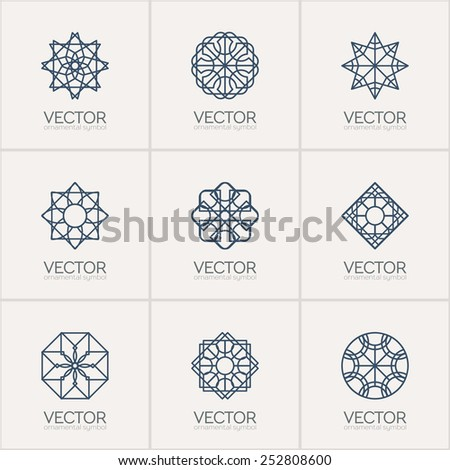 Ornamental logo template set. Vector geometric symbols - stock vector